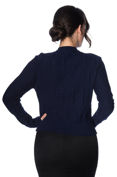 Midnight Daze navy cable knit cardigan