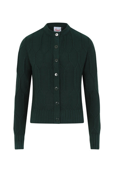 forest green cable knit cardigan