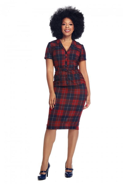 Collectif caterina ginsburg check pencil dress modeled NZ