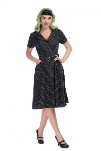 BRETTE POLKA DOT SWING DRESS IN BLACK
