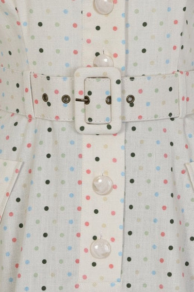 BRETTE POLKA DOT SWING DRESS IN CREAM
