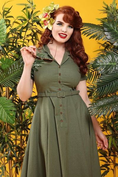 Caterina olive swing dress