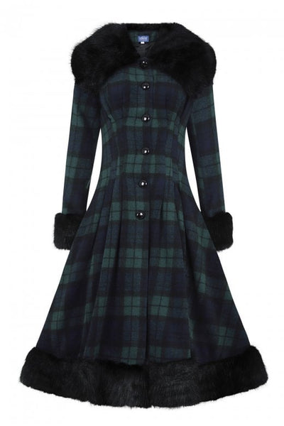 blackwatch tartan collectif pearl coat front