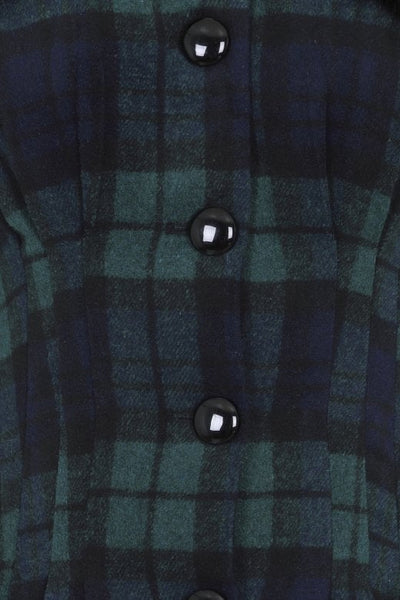 Blackwatch tartan collectif pearl coat button detail