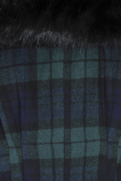 blackwatch tartan collectif pearl coat trim detail