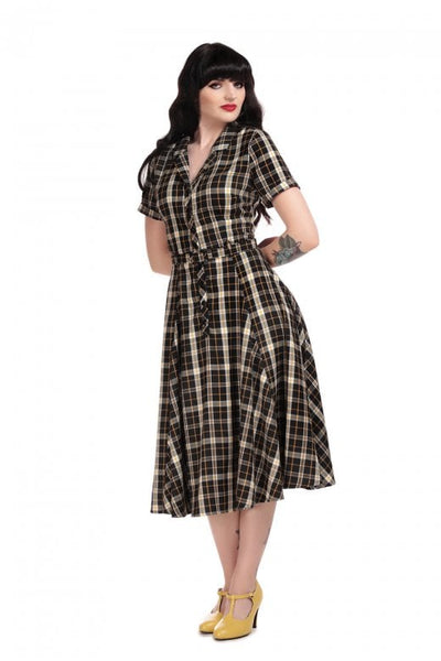 Collectif-Caterina-geek-check-swing-dress-modeled