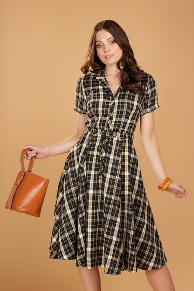 Collectif-caterina-dress-geek-check-modeled-NZ