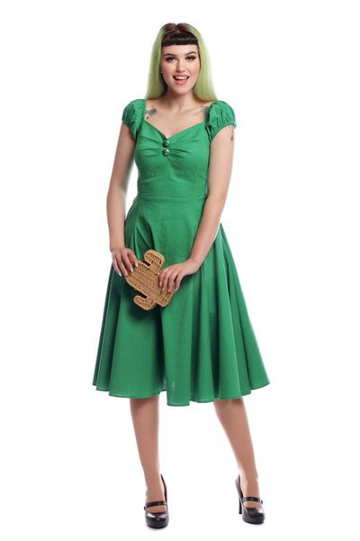 Collectif-Dolores-green-swing-dress-modeled