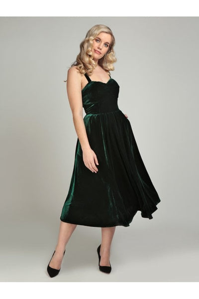 Collectif-green-velvet-pacy-dress-modeled