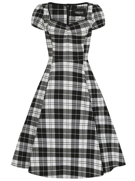 Collectif-mimi-monochrome-check-swing-dress-front