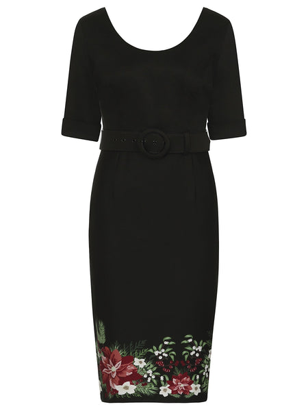 June Floral Border Pencil Dress