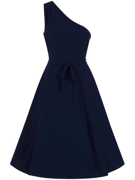 Collectif-Cindal-navy-one-shoulder-dress-front