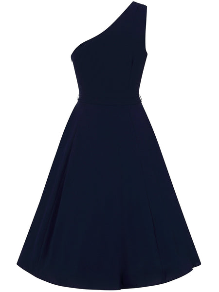 Collectif-Cindal-navy-one-shoulder-dress-back
