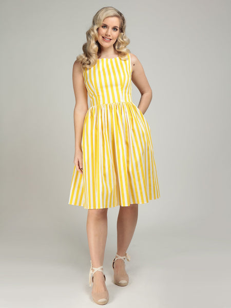 Collectif-Candice-lemon-striped-swing-dress-modeled