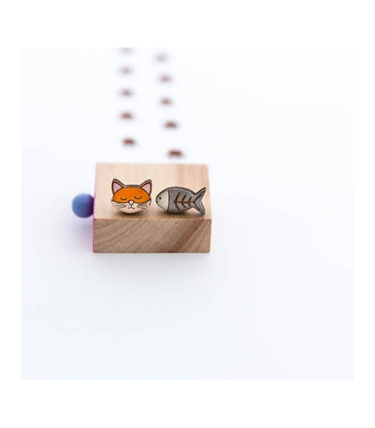 Cat and fish earrings Bok Bok B'Gerk NZ