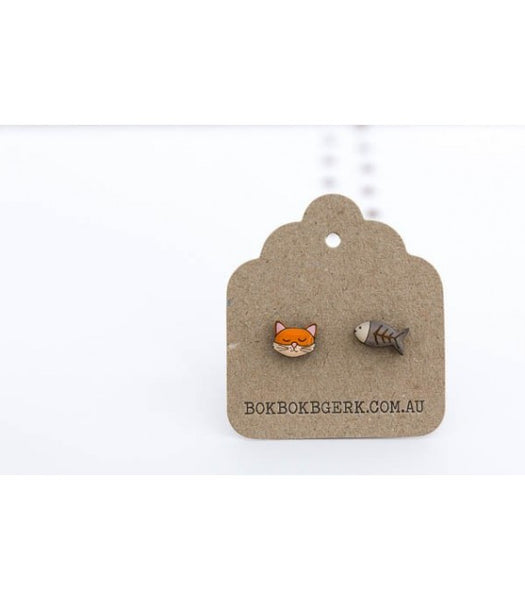 cat and fish earrings on card