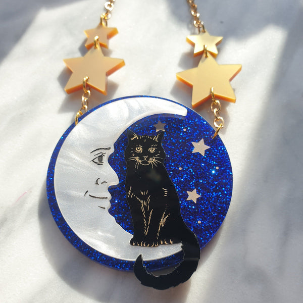 cat-and-moon-laser-cut-acrylic-glitter-necklace