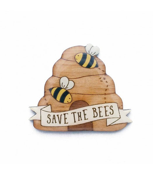 save the bees behive brooch
