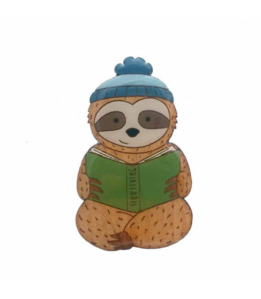 Slow living sloth brooch