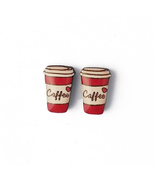 red coffee cup earrings
