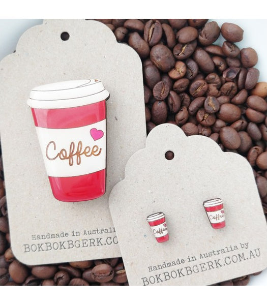 red coffee cup earrings and brooch