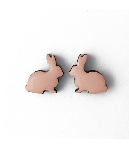 pink rabbit earrings bok bok b'gerk