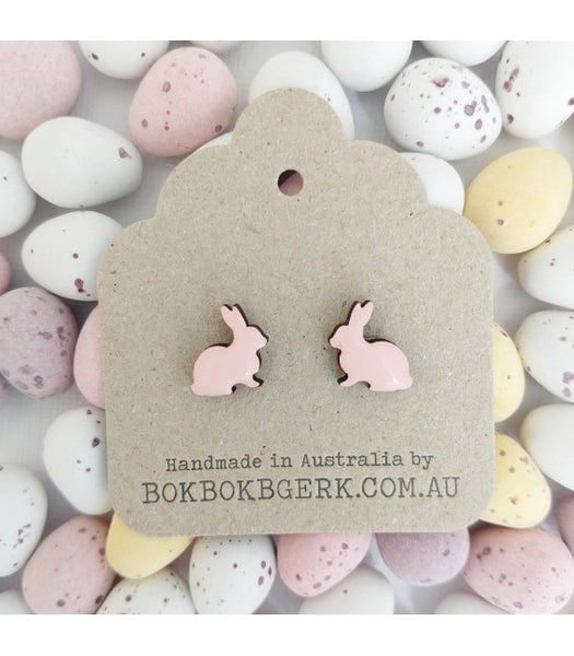 pink rabbit earrings on packaging easter