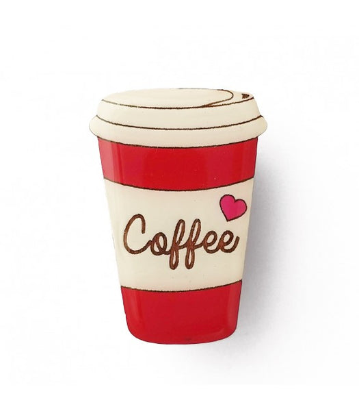 red coffee cup novelty brooch NZ