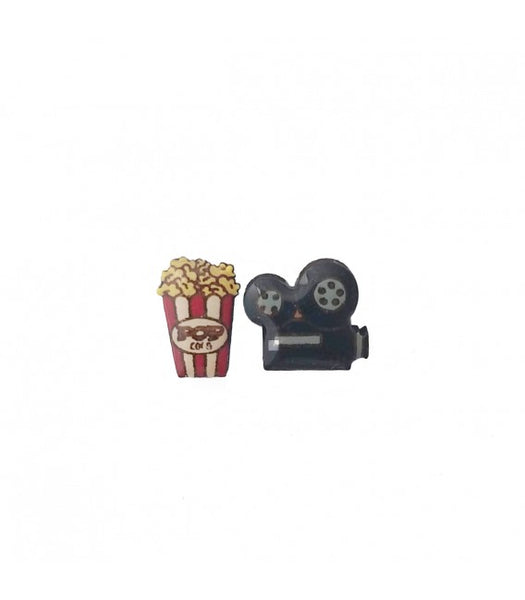 popcorn and movie camera earrings