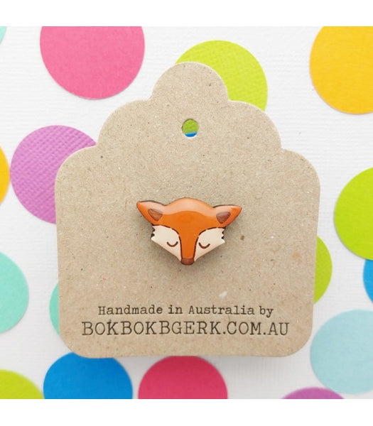 Bok Bok B'Gerk fox lapel pin NZ