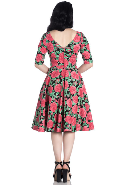 Hell Bunny Darcy dress modeled back Two Lippy Ladies