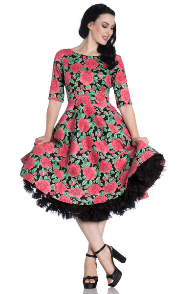 Hell Bunny Darcy dress modeled with petticoat Two Lippy Ladies