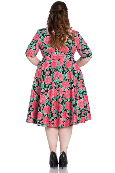 plus size Hell Bunny Darcy 50s dress back