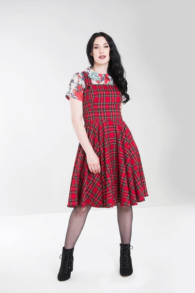 Hell Bunny Irvine tartan pinafore dress front modeled