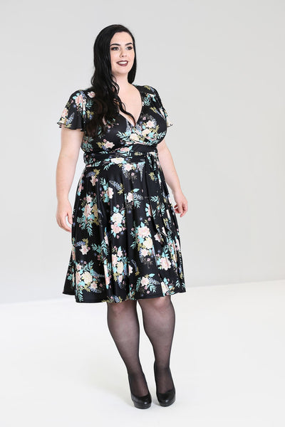 Hell Bunny plus size Flora dress modeled front