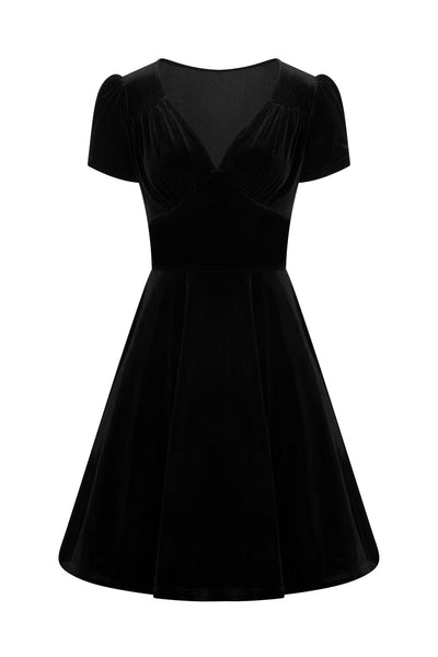 Hell Bunny Joanne black velvet dress invisible model