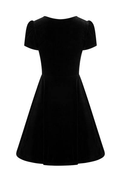 Hell Bunny Joanne black velvet dress invisible model back