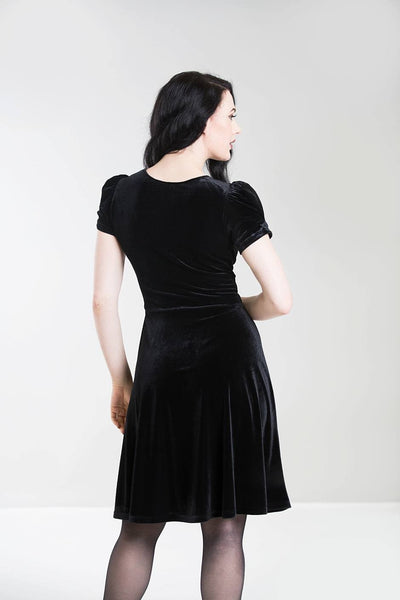 Hell Bunny black velvet Joanne dress back