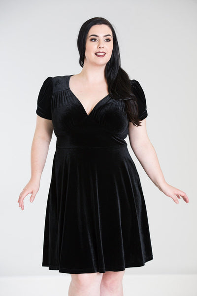 plus size Hell Bunny Joanne dress black velvet NZ