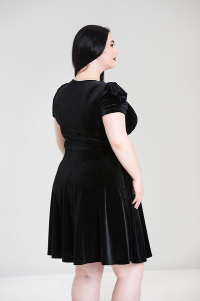 black velvet plus size Hell Bunny Joanne dress back