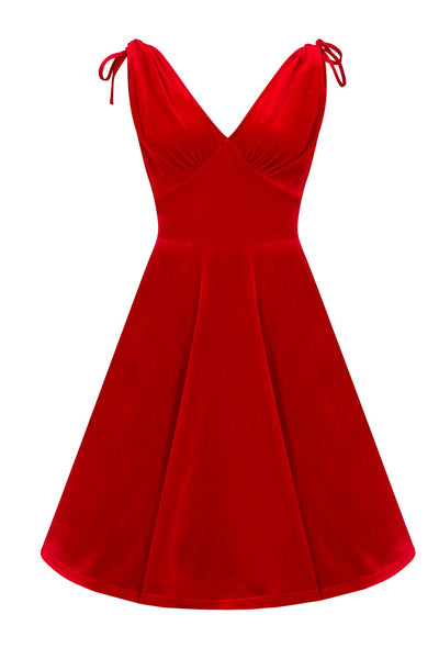 Hell Bunny red velvet Melina dress front detail