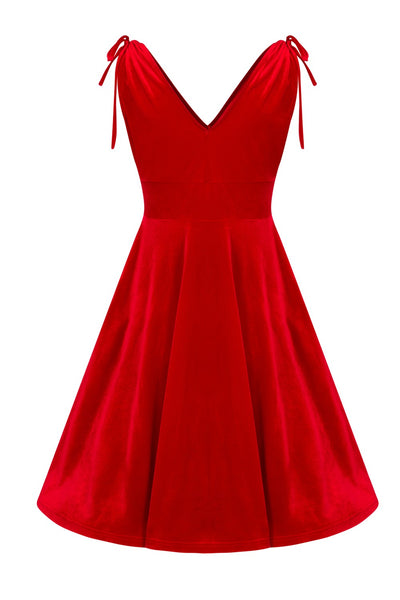 Hell Bunny red velvet Melina dress back detail