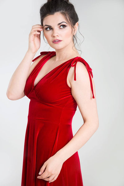 Hell Bunny red velvet Melina dress side