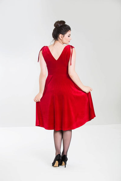 Hell Bunny red velvet Melina dress back