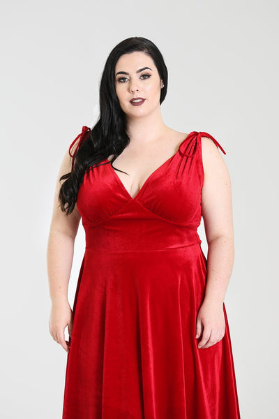 Hell Bunny red velvet Melina dress NZ plus size detail