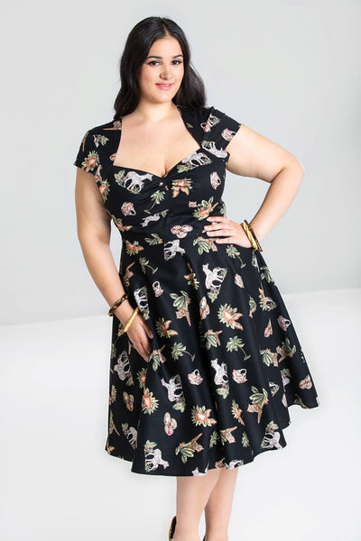 Hell Bunny plus size Messina dress modeled