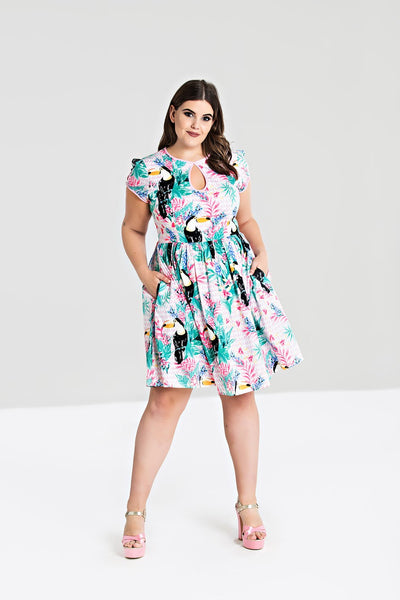 Hell Bunny toucan dress plus size modeled