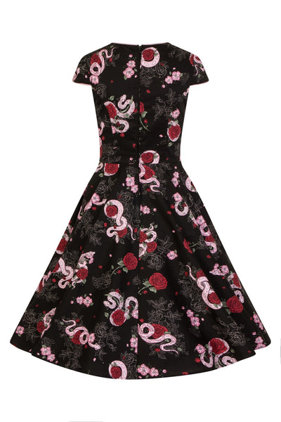Hell Bunny python rose dress back