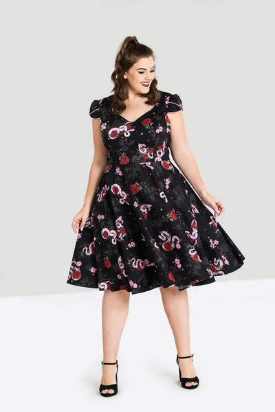 Hell Bunny python rose dress plus size NZ