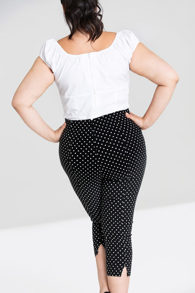 Hell Bunny plus size black and white polka dot capris back